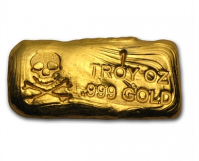 One Troy Ounce Skull n Bones Gold Bar